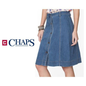 Chaps Womens Jean Skirt Button Front Sz 6 NWT